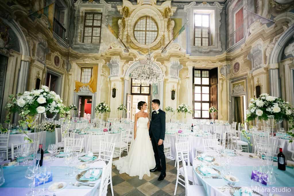 Salone del Castello Canalis allestito per matrimonio
