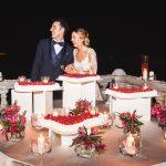 Sposi taglio torta terrazza Castello Canalis